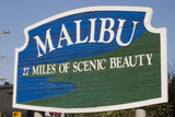Fototapety Signature Malibu sign along Pacific Coast Highway