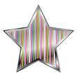Star with multi color scheme over white background