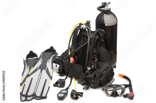 Leinwandbild Motiv Diving equipment on white background