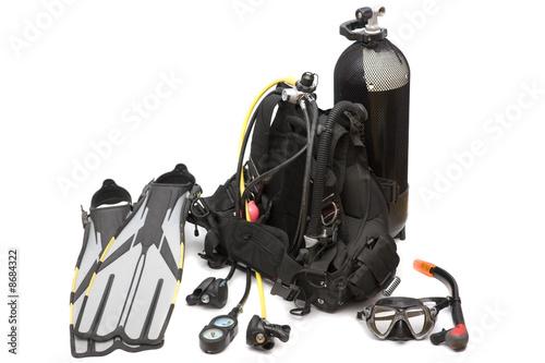 Foto op Aluminium Duiken Diving equipment on white background