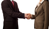 Businesspeople shaking hands, deal approved (isolated on white) poster