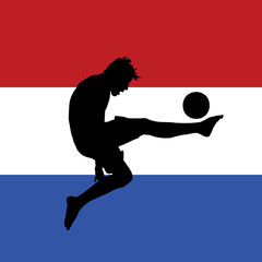 football player with dutch flag in background