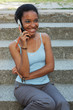 Young black girl talking on her cell phone