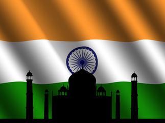 Taj Mahal with Indian flag illustration
