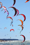 Kiteboarding kites in the sky