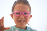 Young Child with Swimming Goggles poster