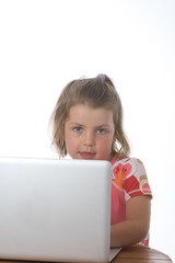 Young Blonde Child on Laptop