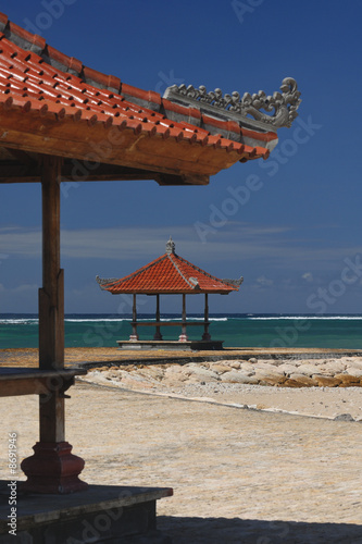 Two gazebos at ocean shore