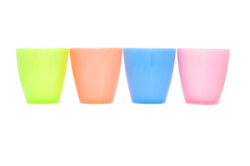 color plastic cups on white