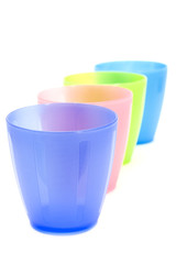 color plastic cups closeup