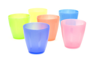 color plastic cups close up