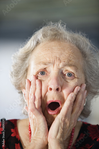 Portrait of a shocked senior woman.