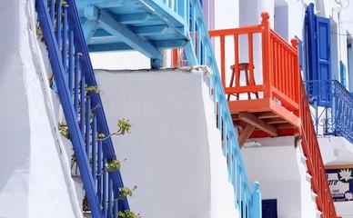 Colorful island balconies