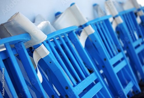 Row of folded chairs