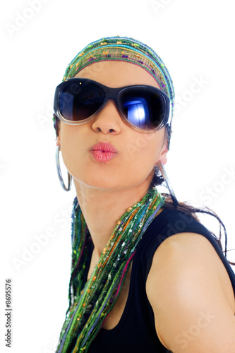 fashion young woman with sunglasses and headscarf