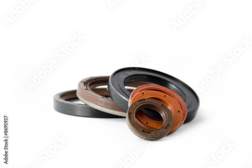 oil seals on white endless background