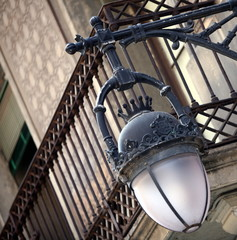 Closeup of lantern on building