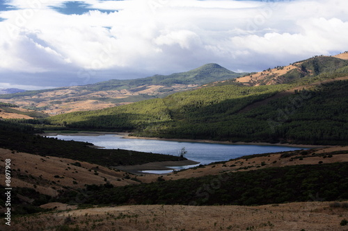 Mountain landscape with body of water;Atlas mountains;Morocco