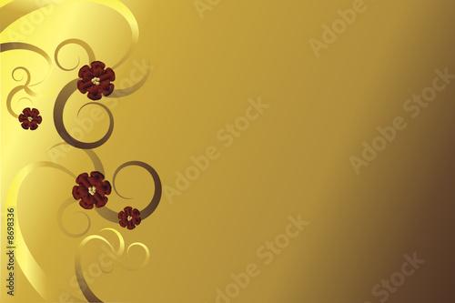 goldene blume mit roten bl ten vor goldenem hintergrund. Black Bedroom Furniture Sets. Home Design Ideas