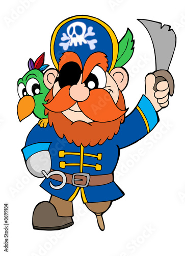 Deurstickers Piraten Pirate with sabre and parrot