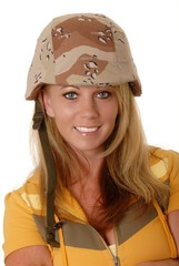 Lovely Blond Girl Wearing Army Helmet