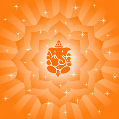God Ganesha On Lotus Background