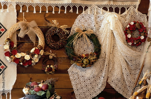 Traditional wreaths and embroidery