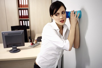 Office worker eavesdropping