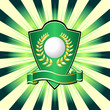 Golf shield theme over colorful striped background