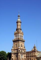 the tower of plaza de espana, seville, spain