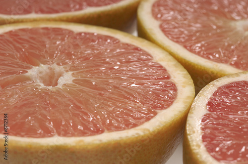 Halved grapefruits, close-up