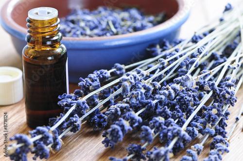 Leinwanddruck Bild Lavender herb and essential oil