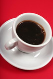 stimulating coffee cup on red background poster