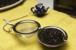 Tea strainer with leaves