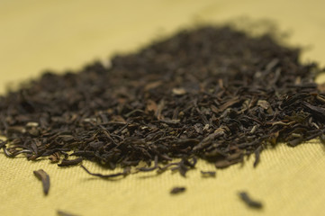 Dried tea leaves, close-up