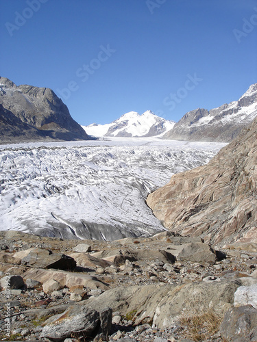 View of Monch & Eiger summits and Aletsch Glacier