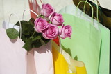 Shopping bags and roses
