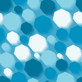 Seamless texture with 3d blue polygons poster