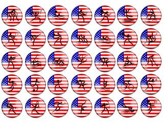 Olimpic summer game simbols USA flag