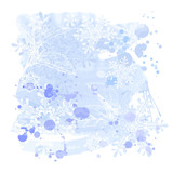 blue grunge watercolors background & snowflakes poster