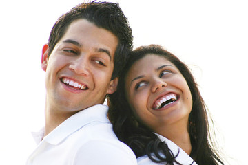 Faces of Couple Laughing Together In Love