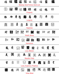 vector chinese lucky symbols with english translation