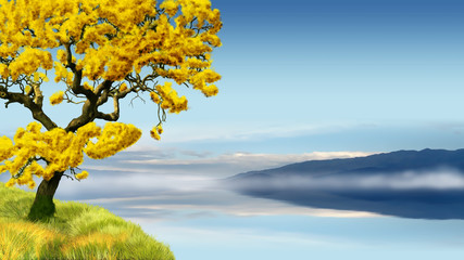 Golden tree in blue landscape