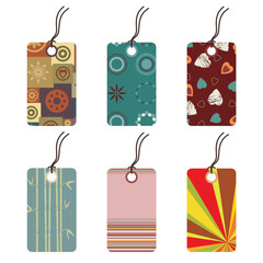 six tags with funky designs