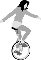 young girl riding unicycle, vector illustration