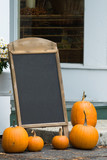 Blank halloween billboard adorned with pumpkins poster