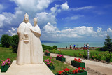 Statue of  Hungarian kings on Tihany abbey poster