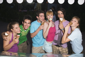 Teenagers eating ice cream