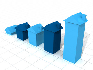 Blue 3D house graph