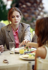 Business women at cafe table